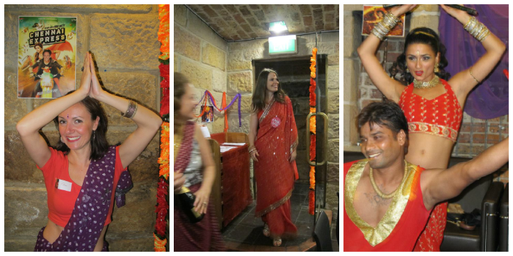 Left to right - Clairey getting her bollywood on; Danielle making her entrance; Bollywood teachers