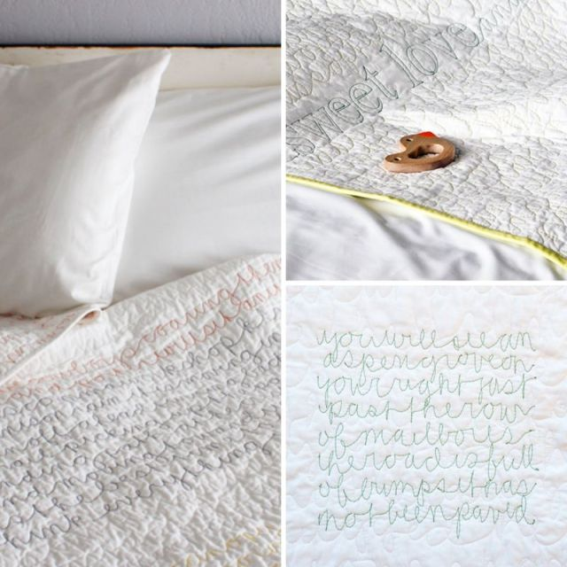 Bedspreads embroided with words, as spotted on a blog I love called Happiness Is.