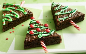 Christmas tree brownies