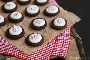 Dark Chocolate Espresso Shortbread Bites with Peppermint Butterc